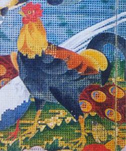 『樹花鳥獣図屏風』雄鶏