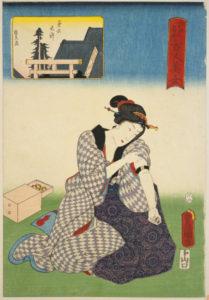 『江戸名所百人美女 第六天神』