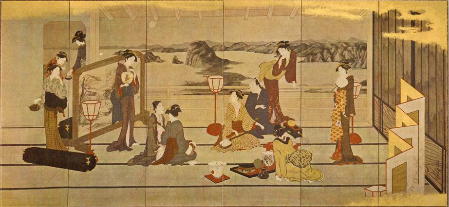 贋作・勝川春潮「月夜江楼宴遊図」