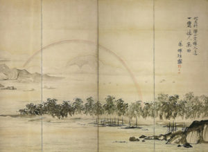 曾我蕭白「富士・三保松原図屏風」(部分)