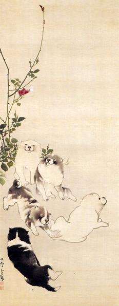 長沢芦雪「薔薇蝶狗子図」
