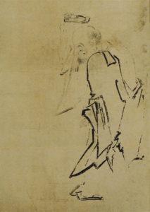 趙州頭載草鞋図(長谷川等伯画)